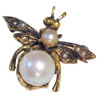 Vintage 14K Gold Bug Fly Insect Cultured Pearl Brooch Pin