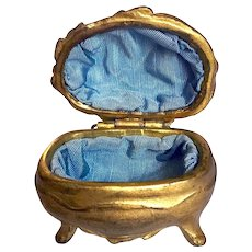 Antique Small Ring Box Victorian Jewelry Casket Gold Metal
