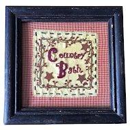 Vintage Country Bath Framed Embroidered Folk Art Sampler