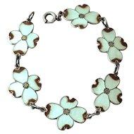 Art Deco Enamel Dogwood Vintage Sterling Silver Bracelet