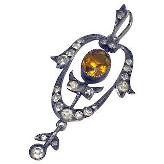 Antique German Arts & Crafts Nouveau Sterling Silver Citrine Paste Lavaliere Pendant