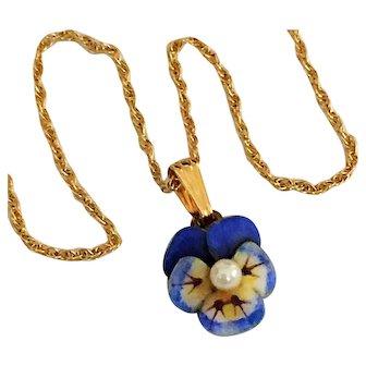 Antique Art Nouveau 14K Gold Enamel Pansy Cultured Pearl Pendant Necklace
