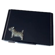 Art Deco Enamel Dog Sterling Silver Compact Box Vintage Card Case