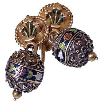 Antique Victorian 14K Gold Enamel Ball Orb Earrings