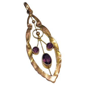 Antique Victorian 9ct Gold Amethyst Lavaliere Pendant