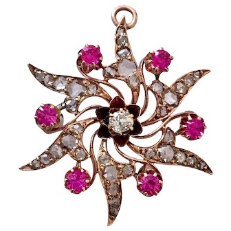 Victorian Old Mine-Cut Diamond 14K Gold Pink Sapphire Pendant Brooch
