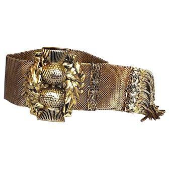 Book Piece! Retro Vintage Thistle Mesh Slide Bracelet Gold Fill Whiting & Davis