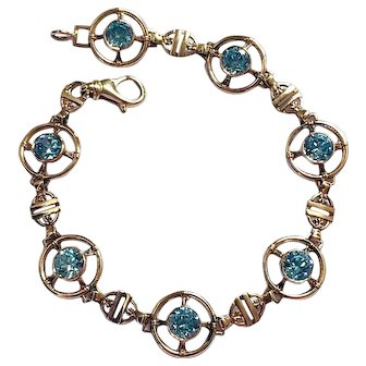 Retro Blue Zircon 14K Gold Art Deco Vintage Bracelet