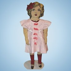 Vintage American Beauty Cloth Doll with dress
