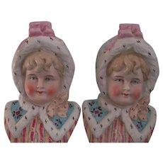 Pair of Matching German Little Girl Bust Figurines Victorian