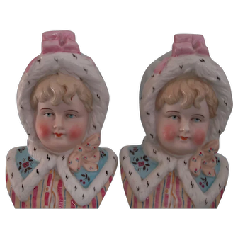 Pair of Matching German Little Girl Bust Figurines Victorian