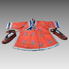 Chinese child's Robe  &  shoes
