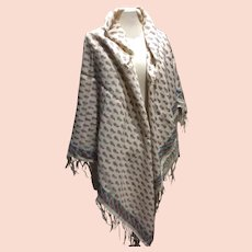 19 th Century  Paisley wool work & cotton shawl