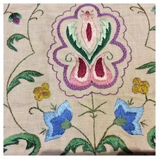 Arts craft embroidered panel