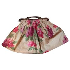1920's floral Linen knitting bag