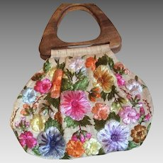 1950's Raffia flower bag