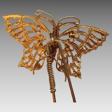 Edwardian metal butterfly tremble hair comb