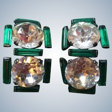 1920's Green White mirrored shoe buckles