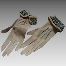 1920's Ladies kid gloves with fine beadwork and embroidery &paste stones.
