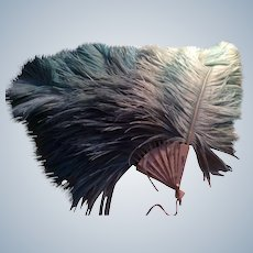 1920's Turquoise ostrich Feather Fan