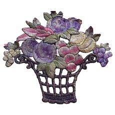 1920's English flower basket Silk Appliqué