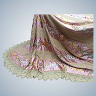Victorian  silk , lace hand embroidered bed cover.
