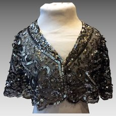 Art Deco Ladies silver sequine evening cape