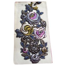 1920's silk woven flower Appliqué