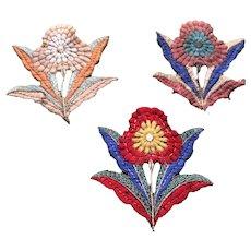 1920's Silk Woven 3 Flower motifs/ appliqués