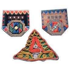 3 1920's Geometric Woven Silk Motifs