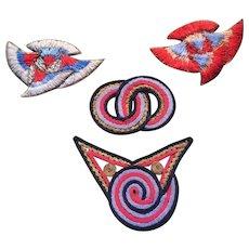 4 1920s Geometric Silk Woven embroidered motifs