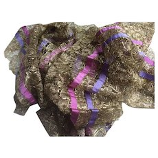 1920's Gold Larme lace trimming adorned with silk purple and pink ribbon