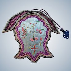 19th century Embroidered Chinese pouch