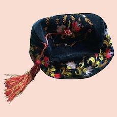 Victorian Gentelmans Embroidered Smoking Hat