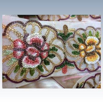 1920's Lovely vely delicately embroidered Flower designed   trim