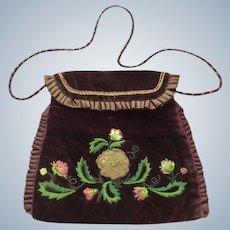 Victorian Ladies Embroidered Bag