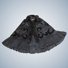 Victorian Ladies velvet beadwork &Lace Cape
