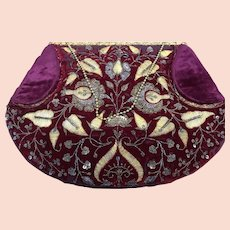 Ladies 19 th Century gold embroidered evening bag