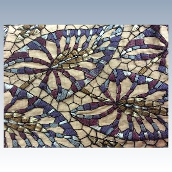 1920's Hand embroidered geometric design trim