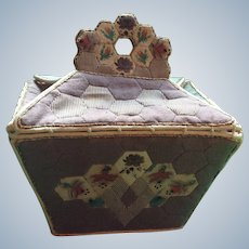 19 th century Patch Work Sewing caddy