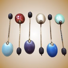Sterling Silver Boxed Silver Enamel coffee spoons