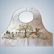 19th Century Childs Forest scene embroidered apron
