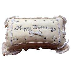 Victorian Pin Cushion HAPPY BIRTHDAY