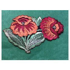 1920' Flower silk woven Appliqué sew on