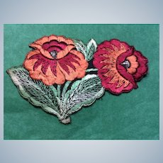 1920' Flower silk woven Appliqué sew on