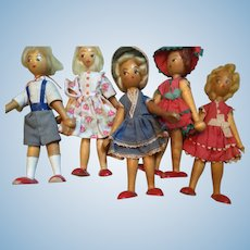 16. Wooden 1960's 1950's  dolls original cloathes