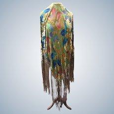 1920's multicoloured da Verne  fringed  silk velvet Shawl