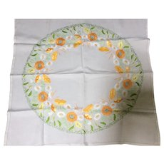 1920' / 30's Embroidered Flower Tablecloth