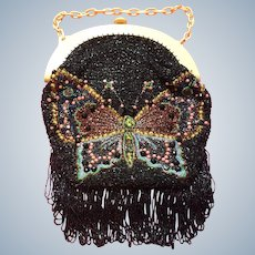 1920's large beadwork Bag  with butterfly design
