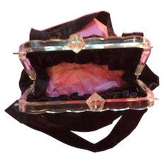 1920's /30's Ladies Bag clear plastic bag top